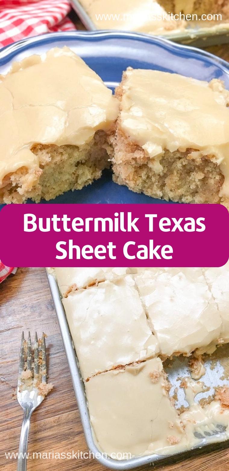 Easy Buttermilk Texas Sheet Cake Recipe Maria S Kitchen In 2020 Buttermilk Dessert Recipes Cake Recipe Using Buttermilk Sheet Cake Recipes