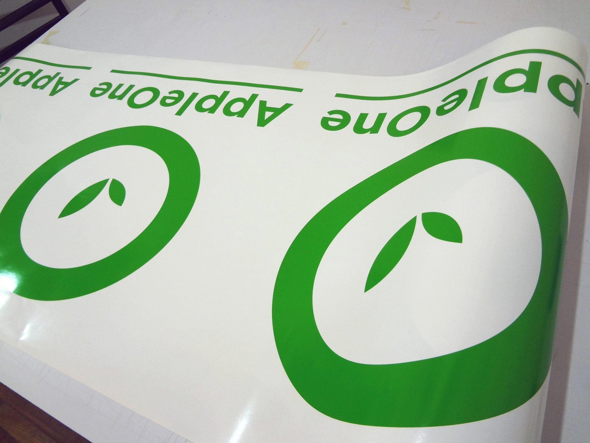 Custom Diecut Adhesive Vinyl Logos In Yellow Green For More - Custom vinyl adhesive signs