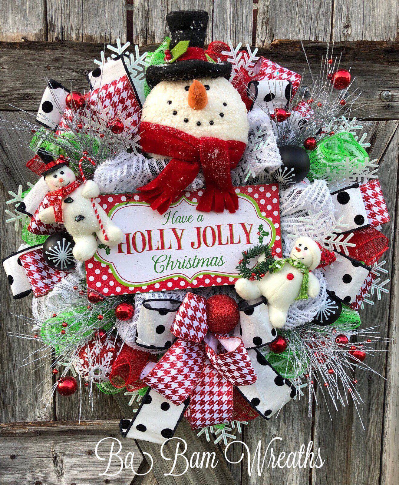 Photo of Snowman Wreath, Snowman Decor, Christmas Wreath, Rustic Christmas Wreath, Winter Wreath