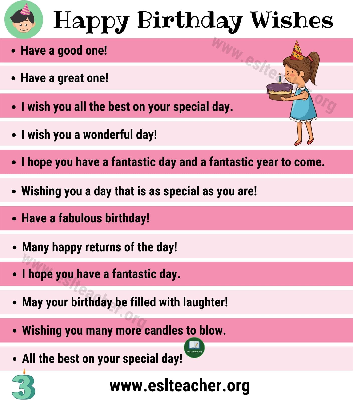 Birthday Wishes 35 Funny Ways To Say Happy Birthday In English Esl Teacher Birthday Wishes Happy Wishes Birthday Wishes Funny