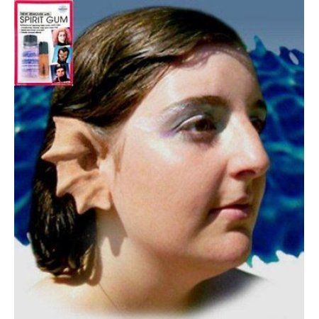 Halloween Latex Prosthetic Ears Merfolk Mermaid w/ Mehron Spirit Gum Remover Kit - Walmart.com