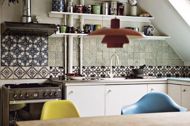mismatched kitchen tiles