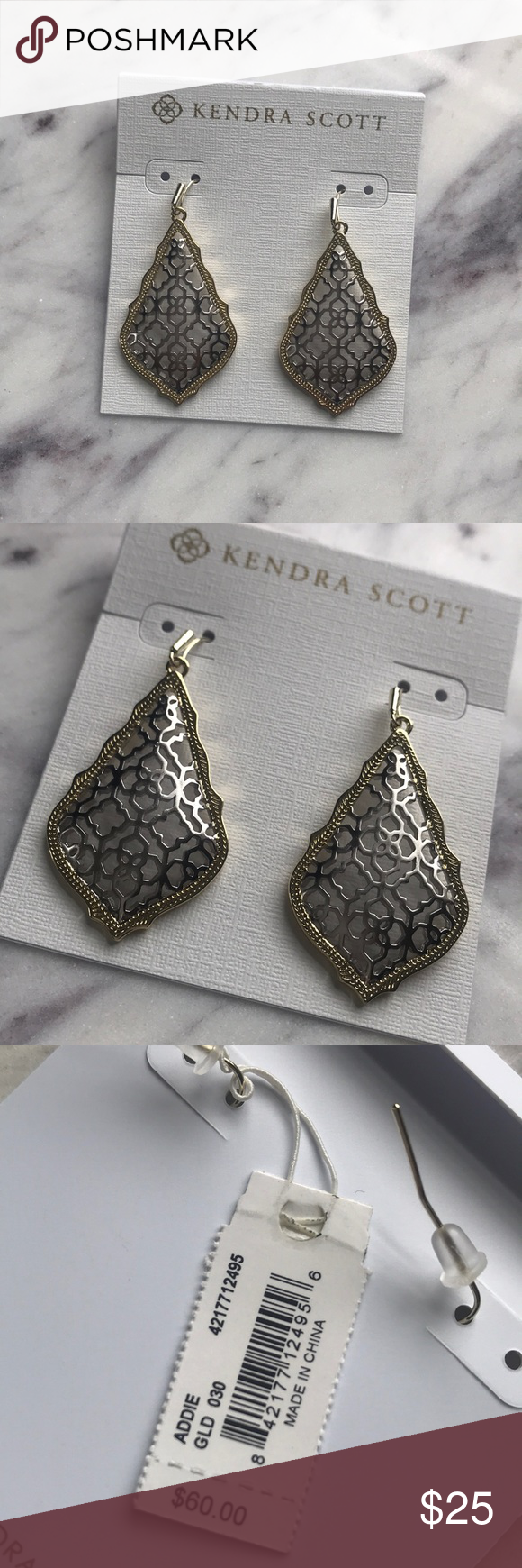 Kendra Scott Addie Earrings Gold Silver Brand New In