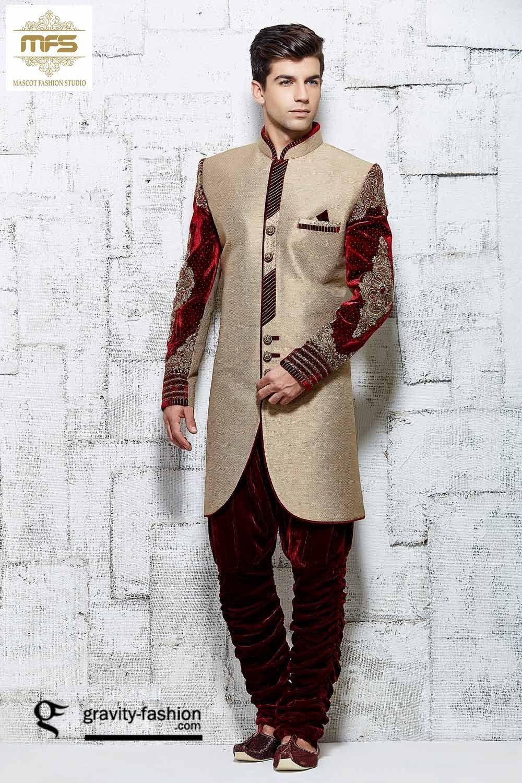 Beige banarasi silk indo western mens wear sherwani trendymenswear