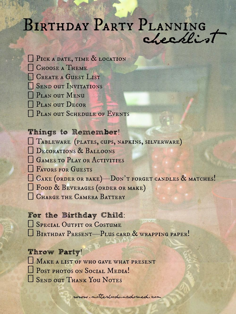 Birthday Party Planning Checklist  Princess Party