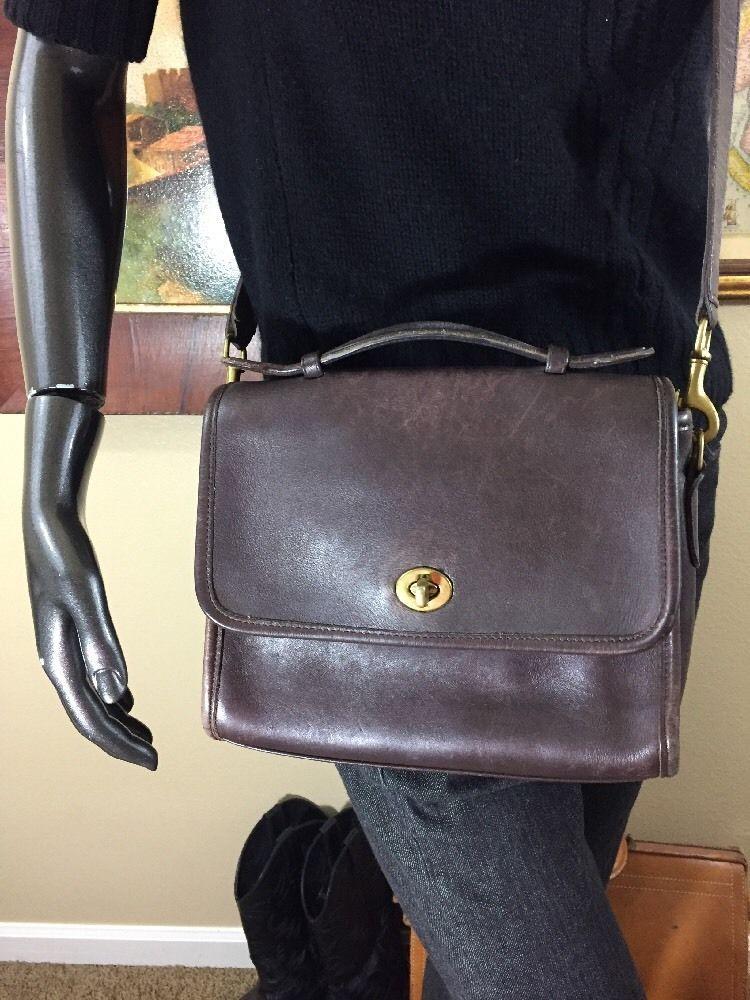 Vintage Coach Court 9870 Dark Brown Leather Shoulder Cross body Handbag    eBay