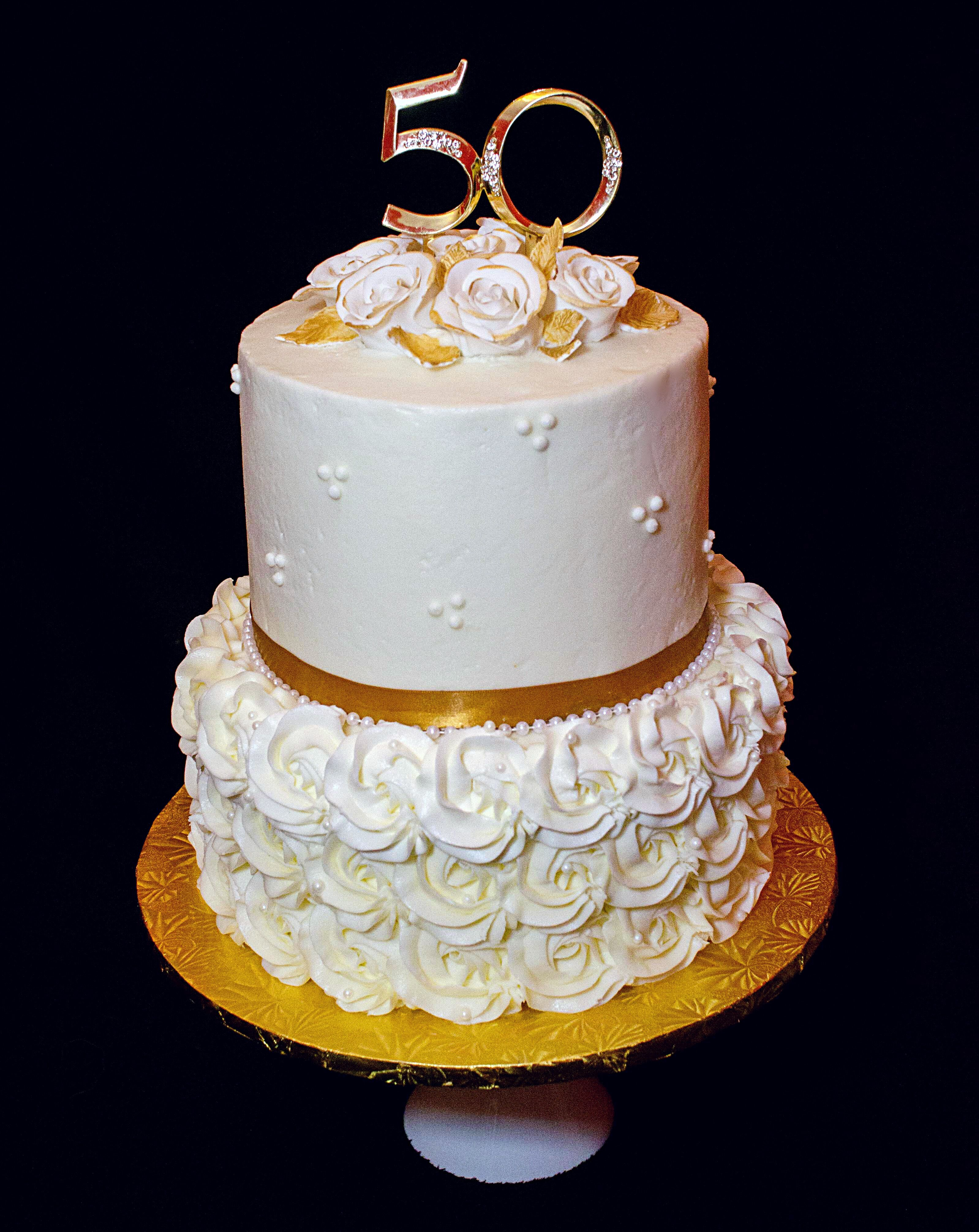 50th Wedding Anniversary Cake Gold White Ivory Pearls Sugar Roses E 50th Anniversary Cakes 50th Wedding Anniversary Cakes 50th Wedding Anniversary Cakes Gold
