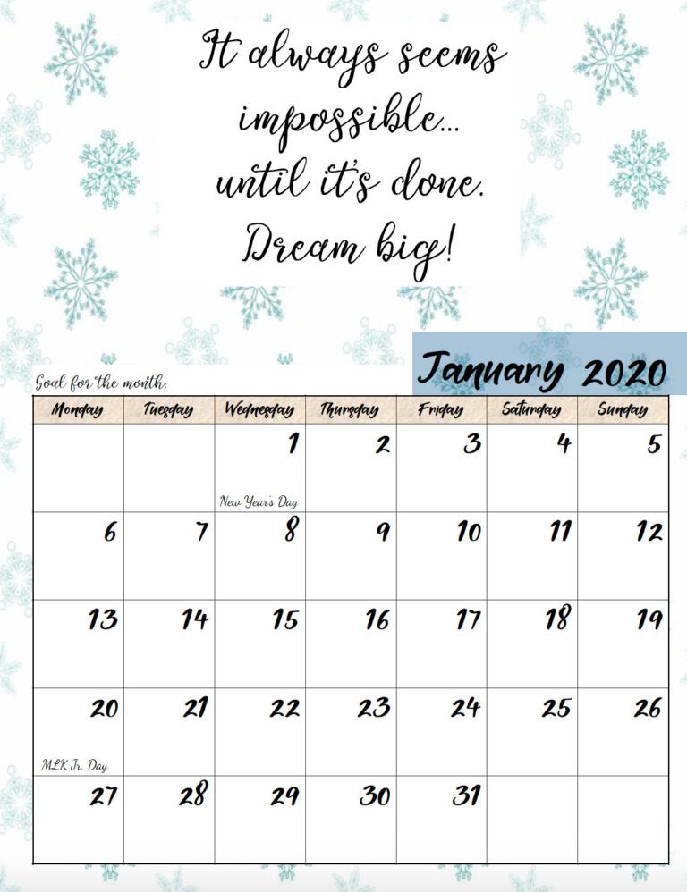 Free Printable 2020 Monday Start Monthly Motivational Calendars In