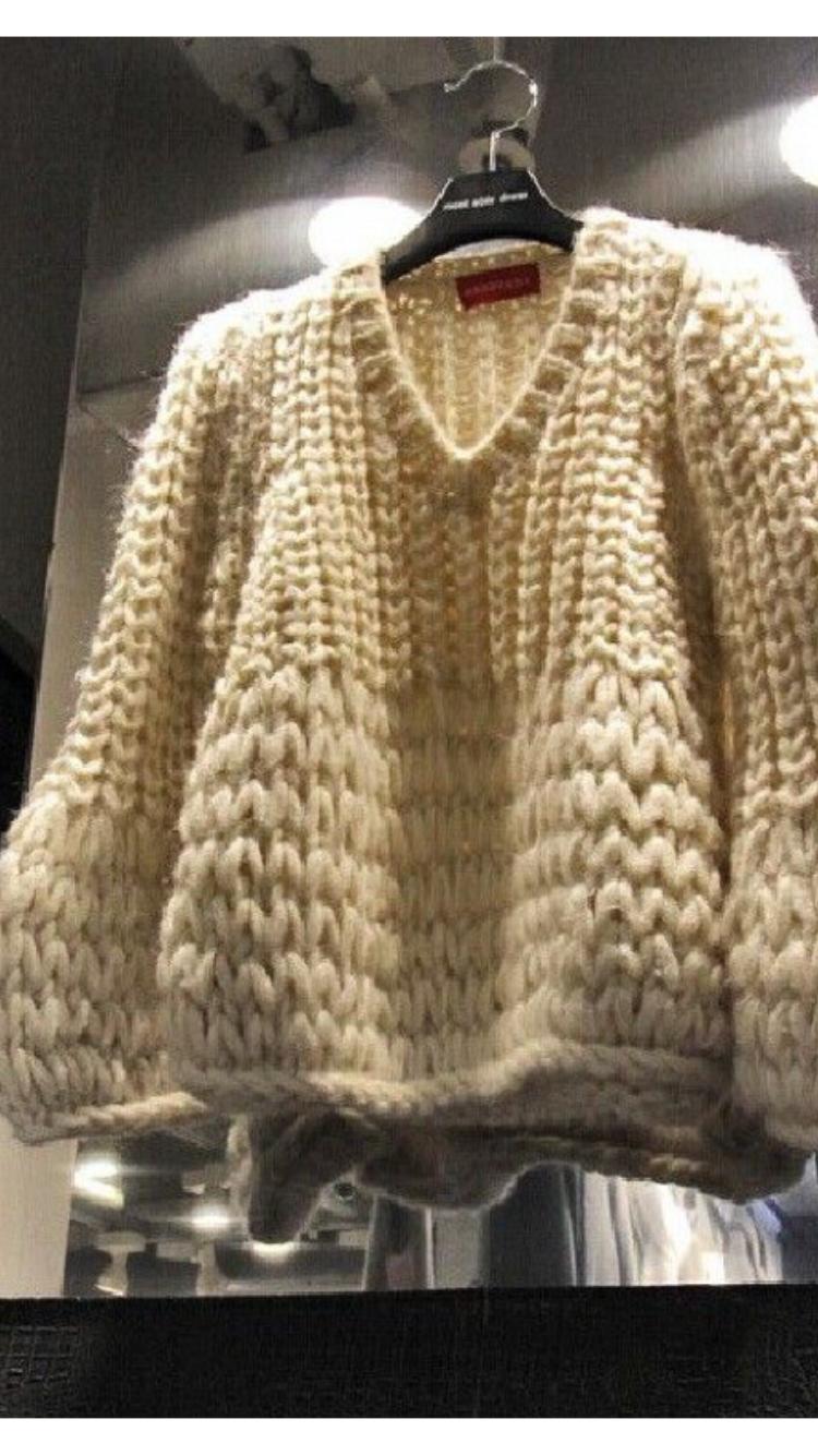 a7450c5ec2d72 Inspiration - grosse maille ∮ tricot pullover épais blanc cassé ivoire laine  (ivory knit wool)