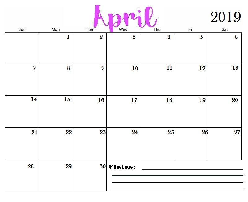 Monthly Calendar April 2019 Printable Blank Template Free