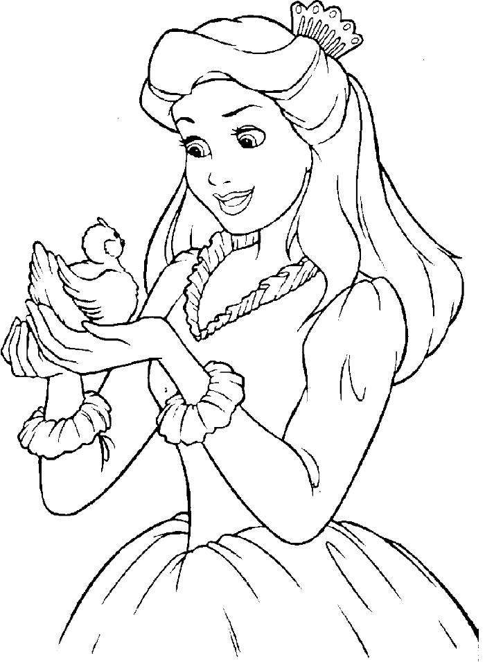 Disney Princess Who Was Playing Alongside Bird Coloring Page