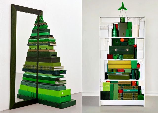 Beautiful This Is A Fantastic Idea If You Donu0027t Have Enough Room For A Full Tree    Mirrored Green Books Christmas Tree And Shelf Made Christmas Tree Nice Look