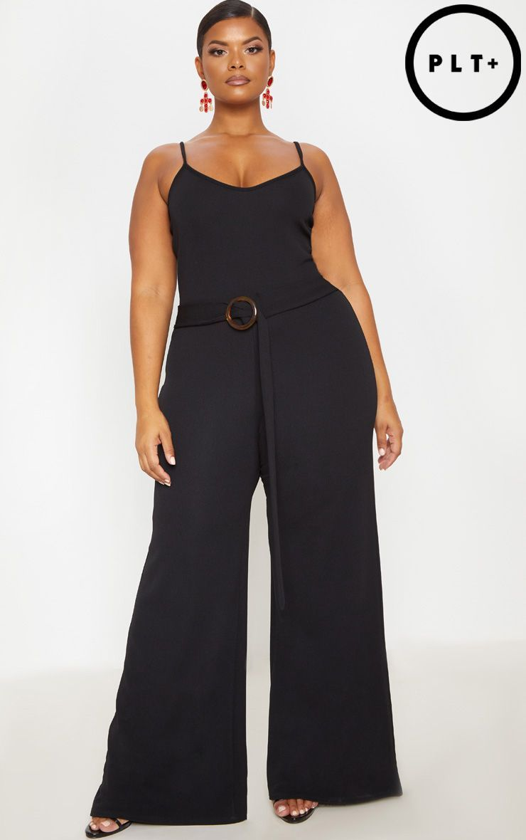 Plus burgundy tortoise shell trim detail jumpsuit in big girl