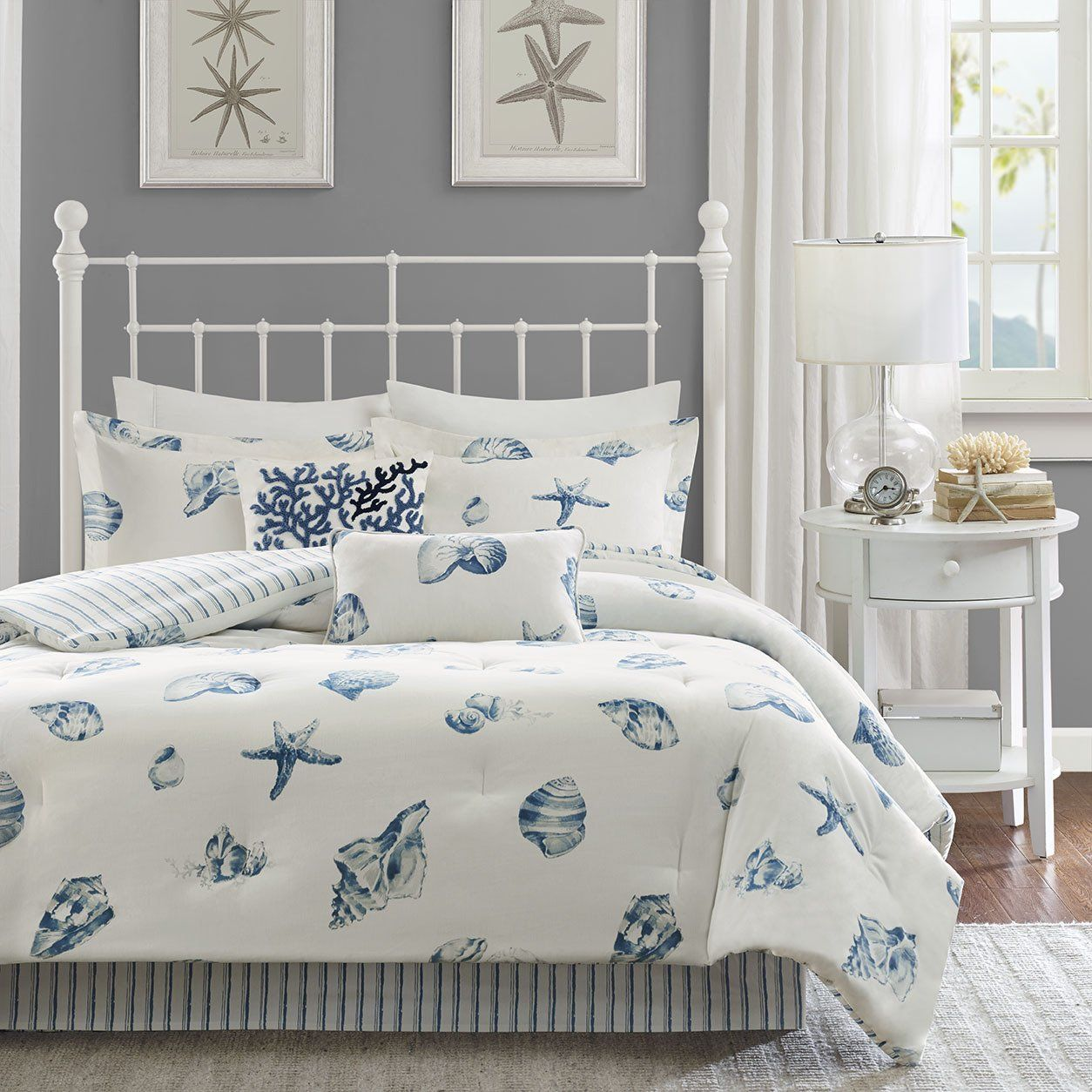 3 Piece Beach Seashell Design Comforter Set King Size Sea Shell Starfish Clam Print Motif Bedding Coastal Bedding Sets Comfortable Bedroom Beach Bedding Sets