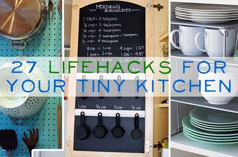 My new kitchen will be teeeny.  Maybe these will help. 27 Lifehacks For Your Tiny Kitchen