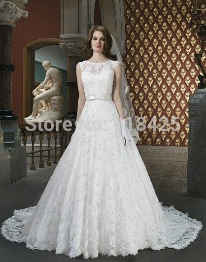 >> Click to Buy << Elegant A Line Lace Wedding Dresses Western Country with Illusion Neckline Bridal Gown Vestidos de Noiva MN001 #Affiliate