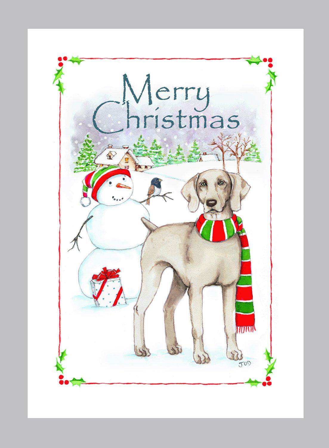 Weimaraner Christmas Card Box of 16 Cards & Envelopes in