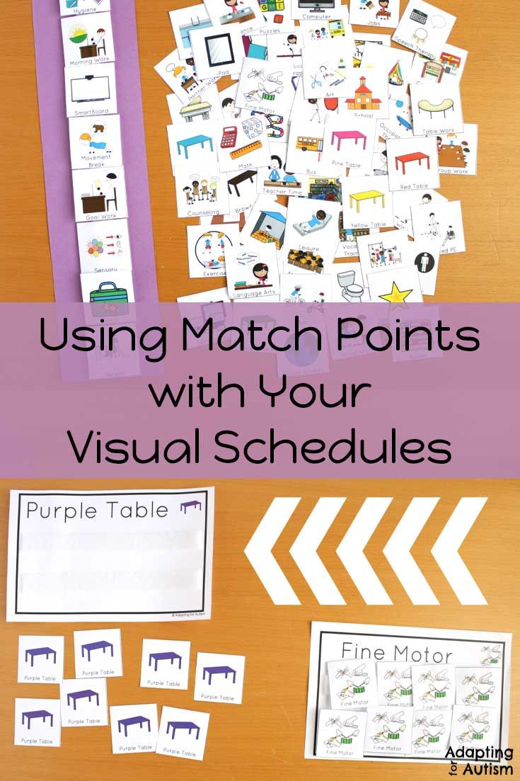Special Education Best Practices And >> Using Match Points For Your Visual Schedules Aba Resrouces