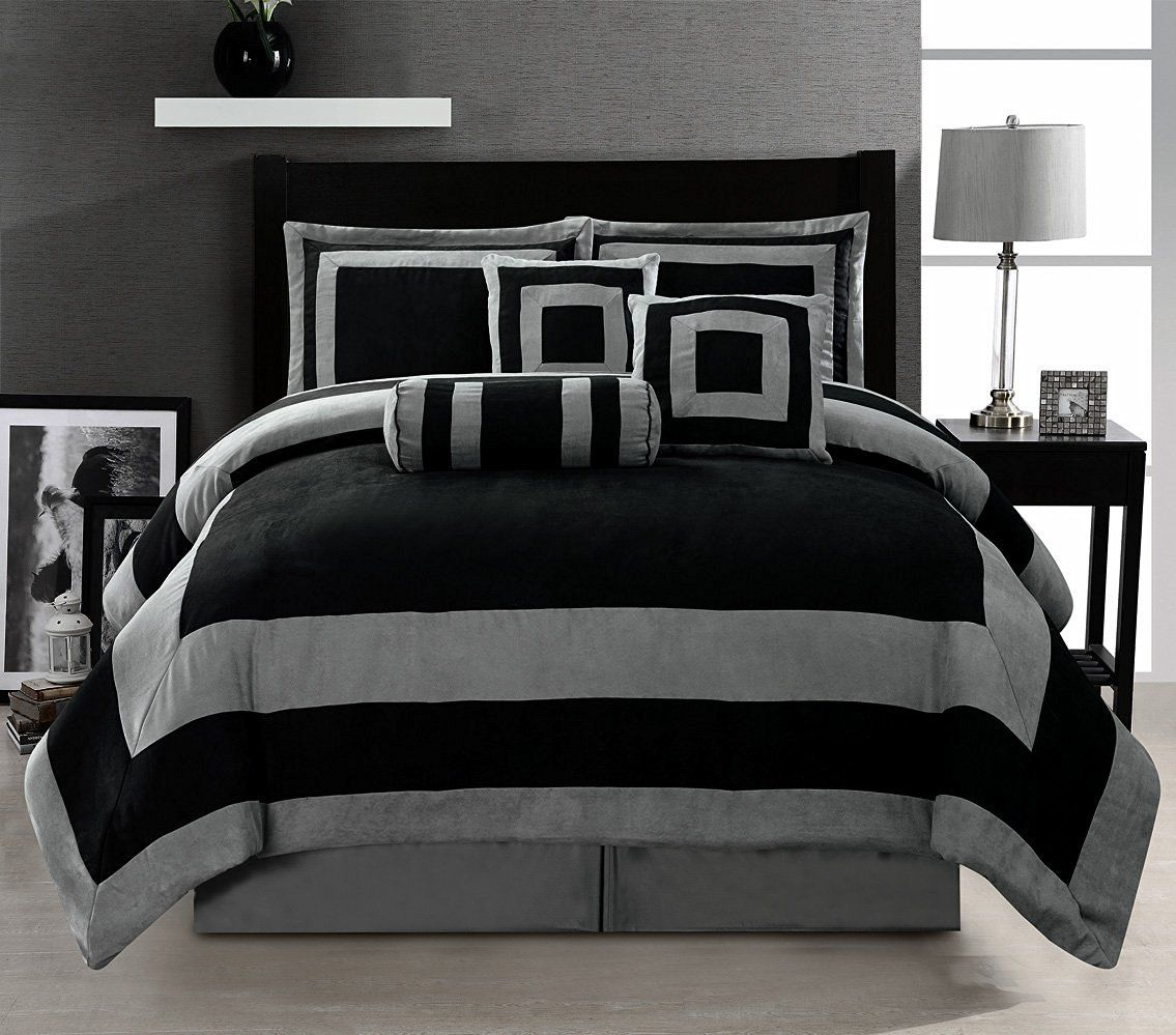 Amazon Com Oversize Black Grey Comforter Set Micro Suede