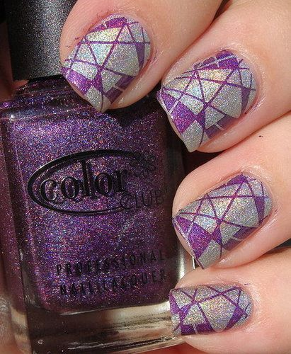 Purple and Silver Holographic Konad Manicure