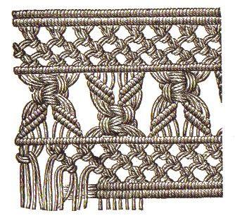 makramee | Längsborte mit Randabschluss aus Rippenknoten. Muster aus Rippen ...