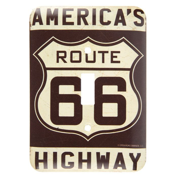 Route 66 Metal Light Switch Plate⎜Open Road Brands | Back Alley ...