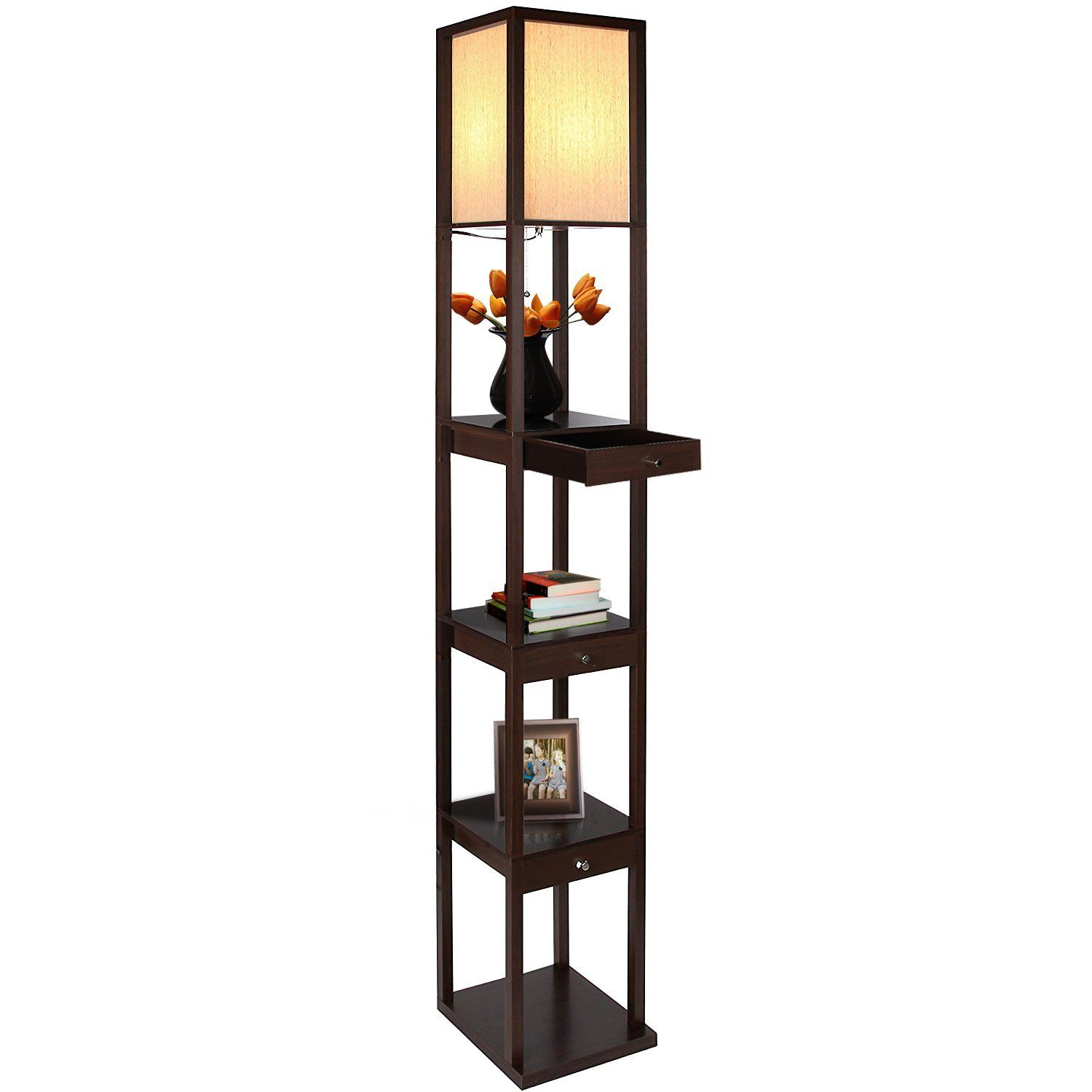 Brightech Maxwell LED Drawer Edition Shelf Floor Lamp