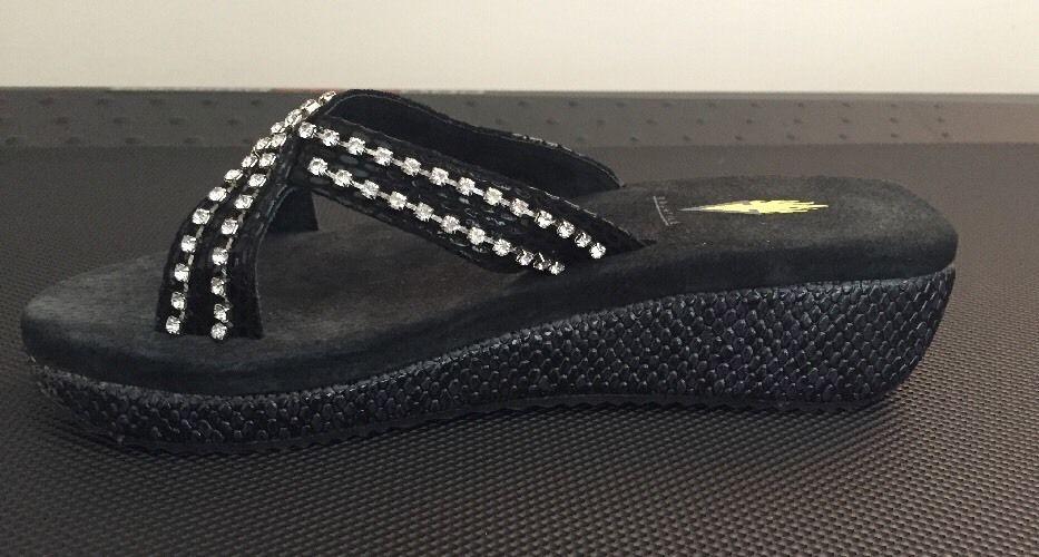 d43ae051d5 Volatile Roxanne Wedge Platform Flip Flops Studded Size 7 Black Rhinestone  NEW #VOLATILE #FlipFlops
