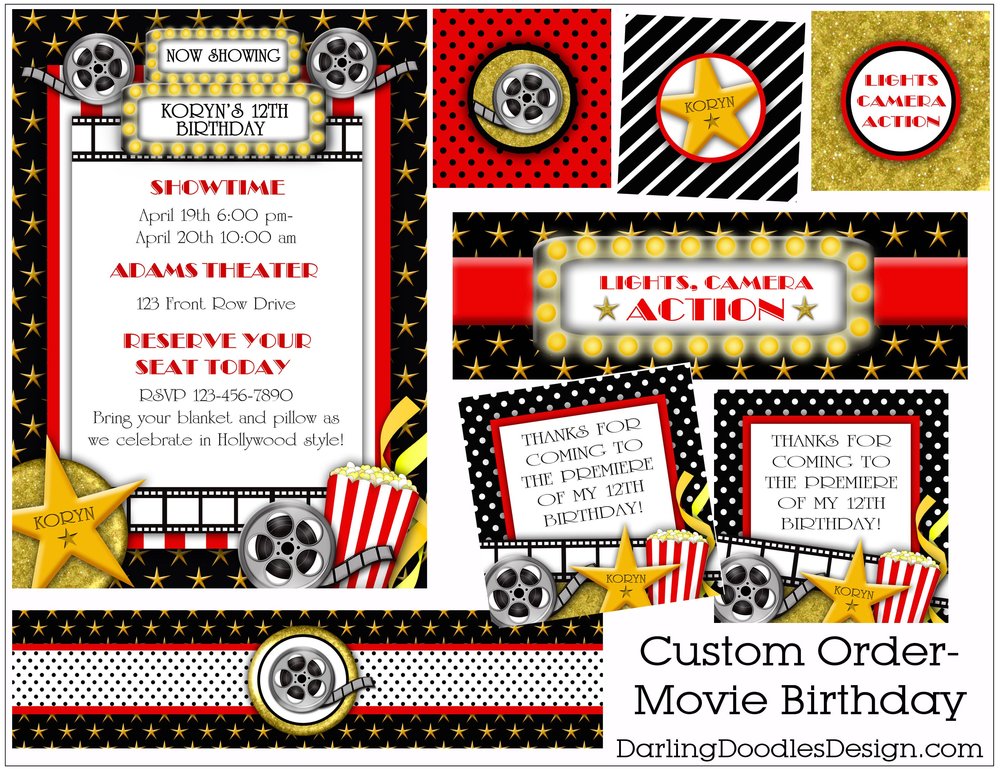 Party Packages Darling Doodles 8th Grade Formal – Hollywood Themed Party Invitations
