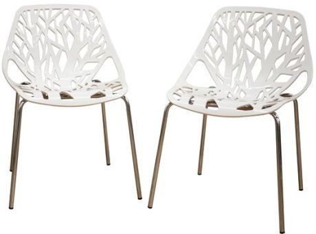 Attractive Adorable Acrylic Accent Chairs With A Delicate White Cut Out Pattern