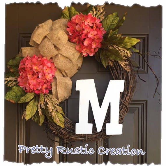 Monogram Wreath For Front Door Hydrangea Wreath Year Round Wreath