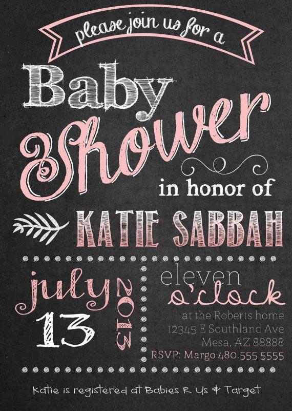 Chalkboard Baby Shower Invitation Customized By Shesmytuesday 11 50