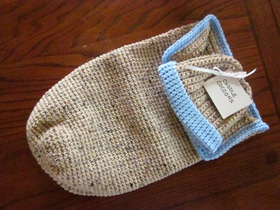 Handmade Crochet Baby Cocoon Cuddle Snuggle Sack and Beanie Hat Set ...