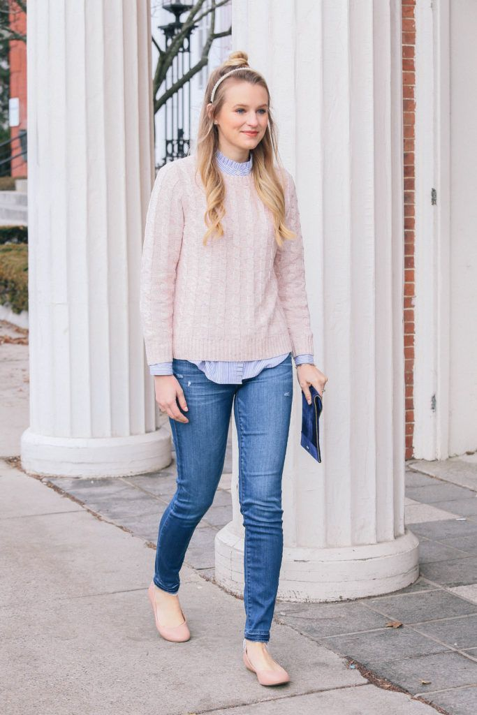 83a2ea5237 Loving blush pink layered over blue and white stripes  cableknit  ruffles   velvet  jcrew