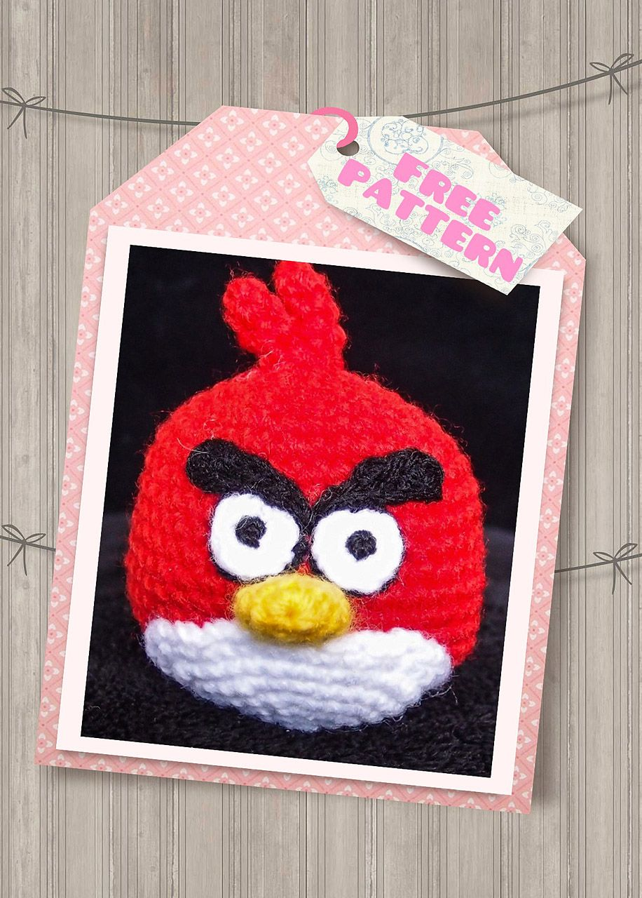 Modelo rojo libre de amigurumi crochet pájaro enojado | crochet ...