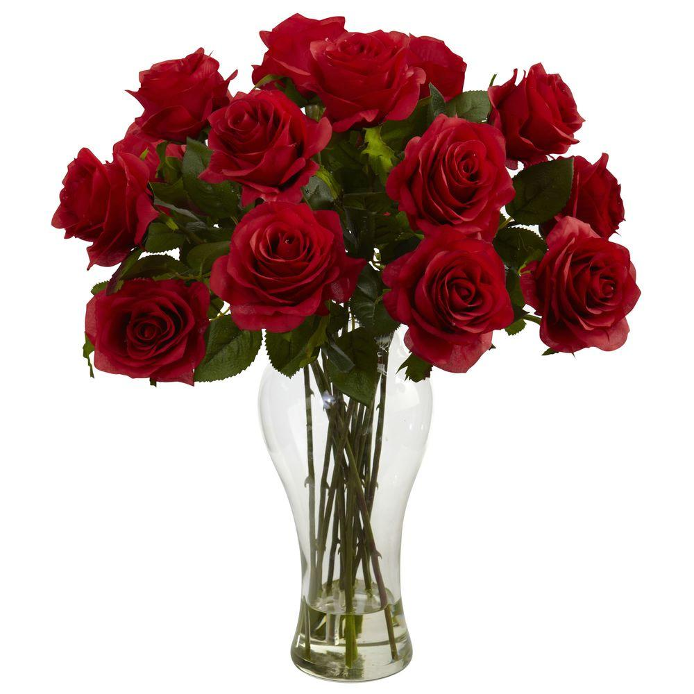 Blooming Roses With Vase In Red Rose Flower Arrangements Rose Arrangements Flower Arrangements
