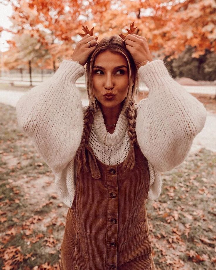 corduroy brown overall dress with white puff sleeve knit sweater | fall outfit inspiration | cute autumn outfits | what to wear during the fall #spookyoutfits