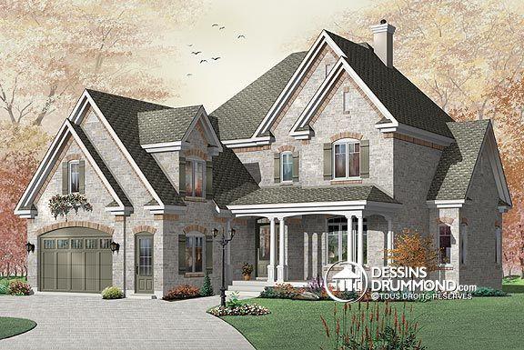 Plan de Maison unifamiliale W3827, Cottage majestueux en profondeur - faire un plan maison