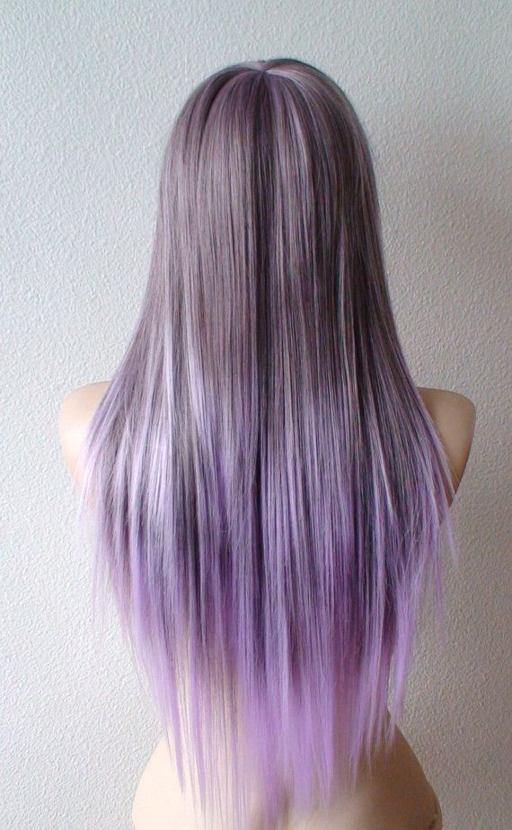 Pastel Lavender Ombre Wig Long Straight Hair Long Side Bangs Wig