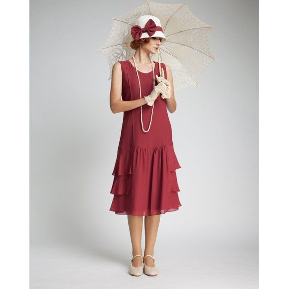 78eca03f048 Great Gatsby dress in maroon with tiered skirt