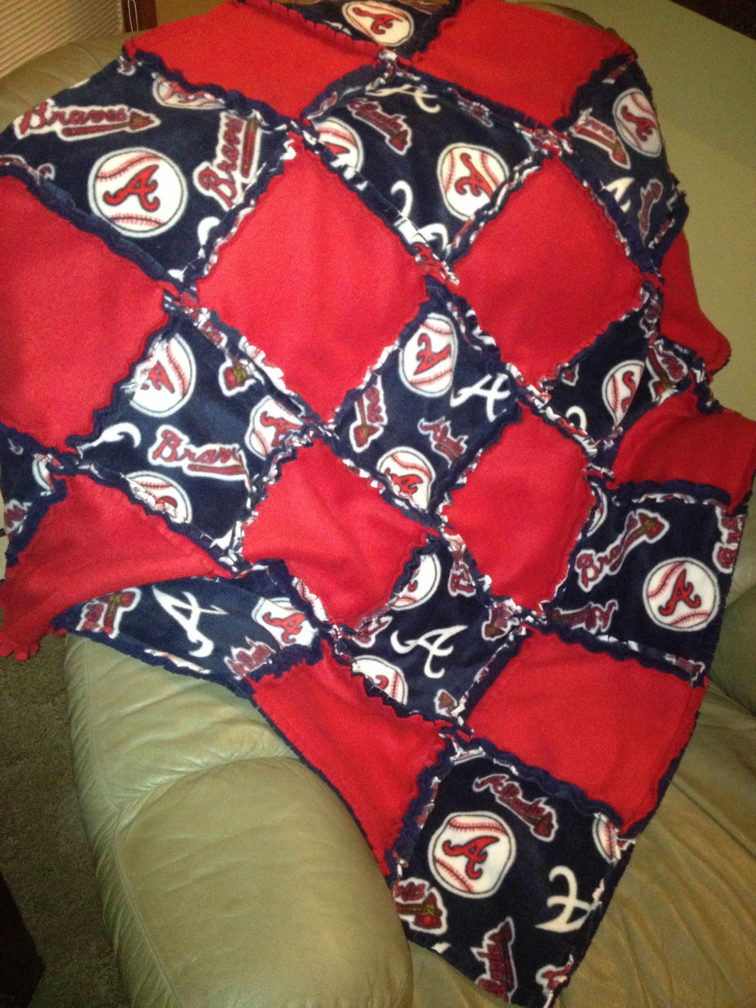 Atlanta Braves Rag Quilt Rag Quilt Atlanta Braves Quilts