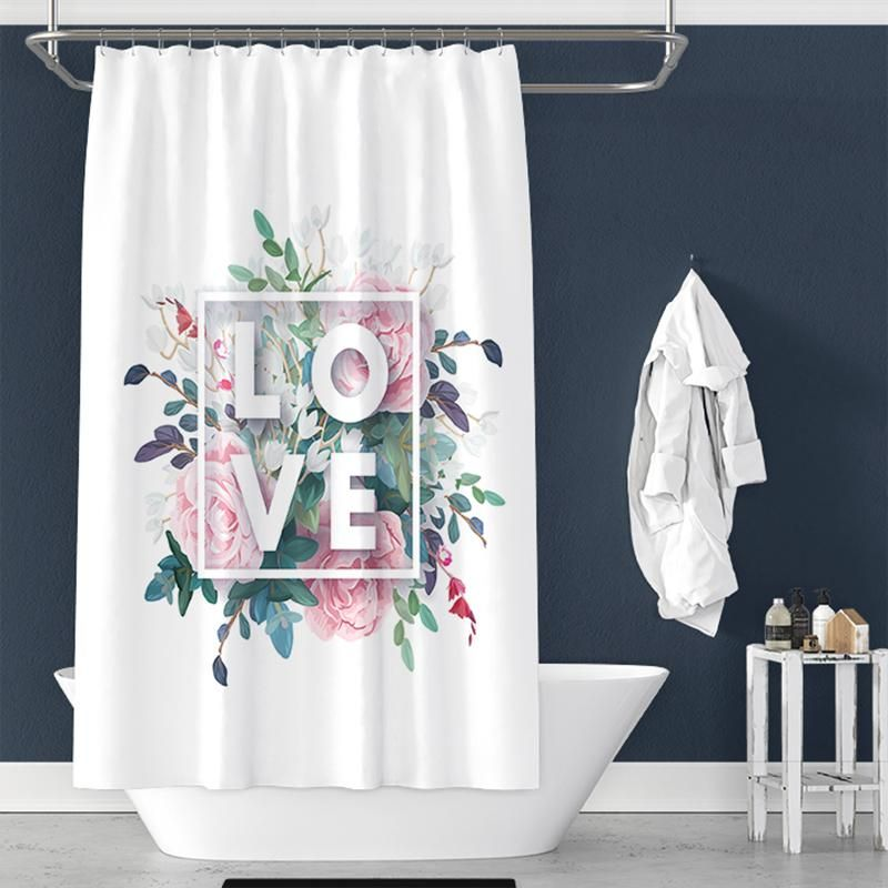 Flower Love Print Shower Curtain For Bathroom Decor Trendy Bathroom Designs New Bathroom Designs Shower Curtain Sizes