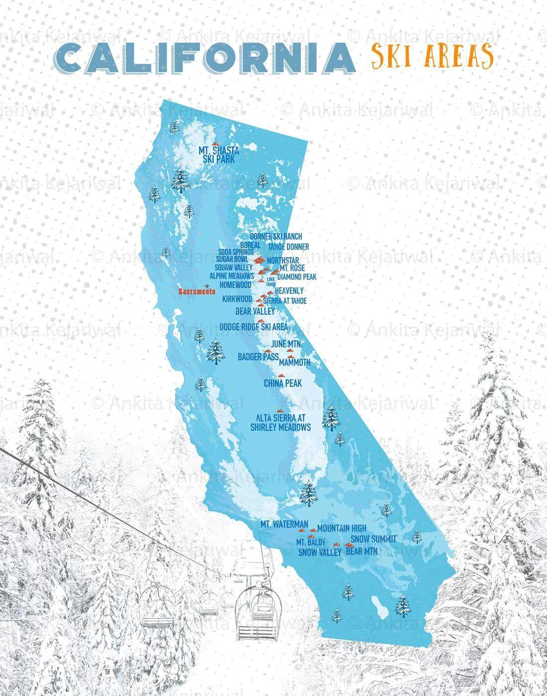 Ski Resort In California Map