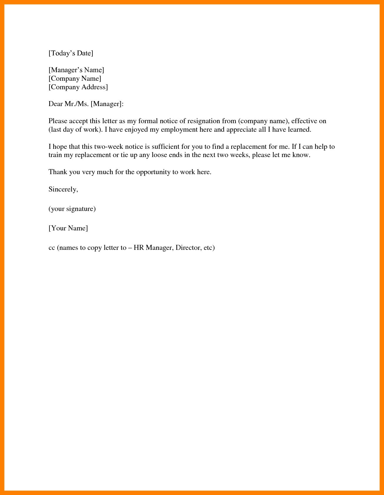 14 Two Weeks Notice Template Word Management On Call Regarding 2 Weeks Notice Template Word Cumed Org Word Template Resignation Letter Sample Words