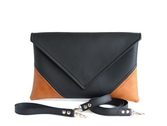 Fall Gift For Women Clutch Bag Envelope Clutch Black Handbag Brown Clutch Purse  Vegan Faux Leather H 9a746e3d4a2b9