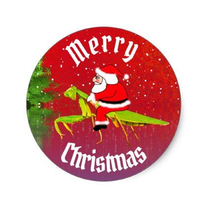 Santa On Praying Mantis Christmas Stickers Christmas Craft