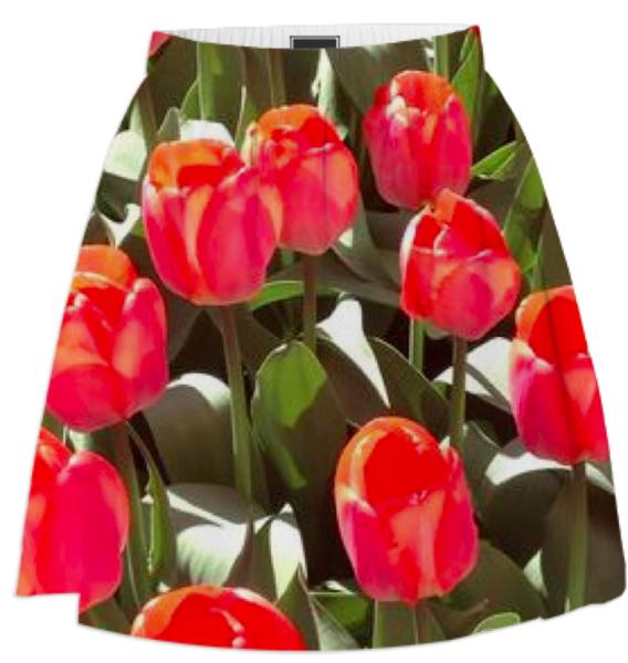 Big Red Floral Skirt