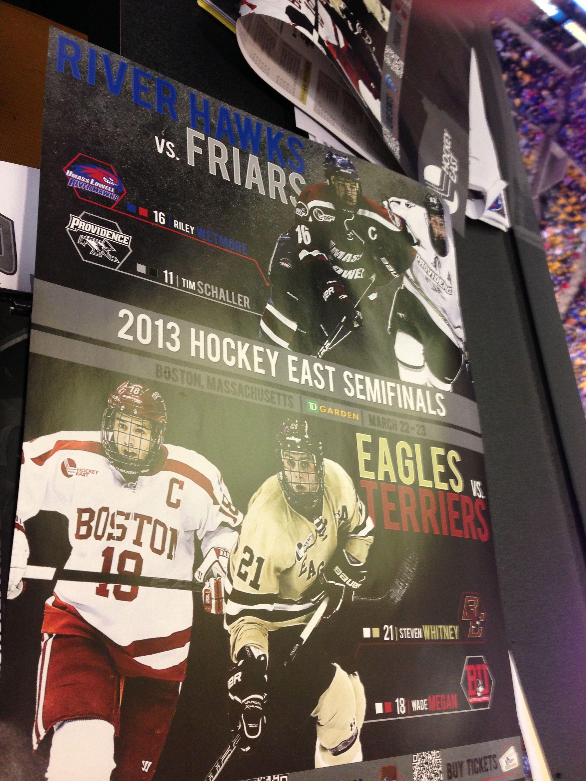 2013 Hockey East Semifinals Bu Vs Bc Poster Eagles Vs Hockey East