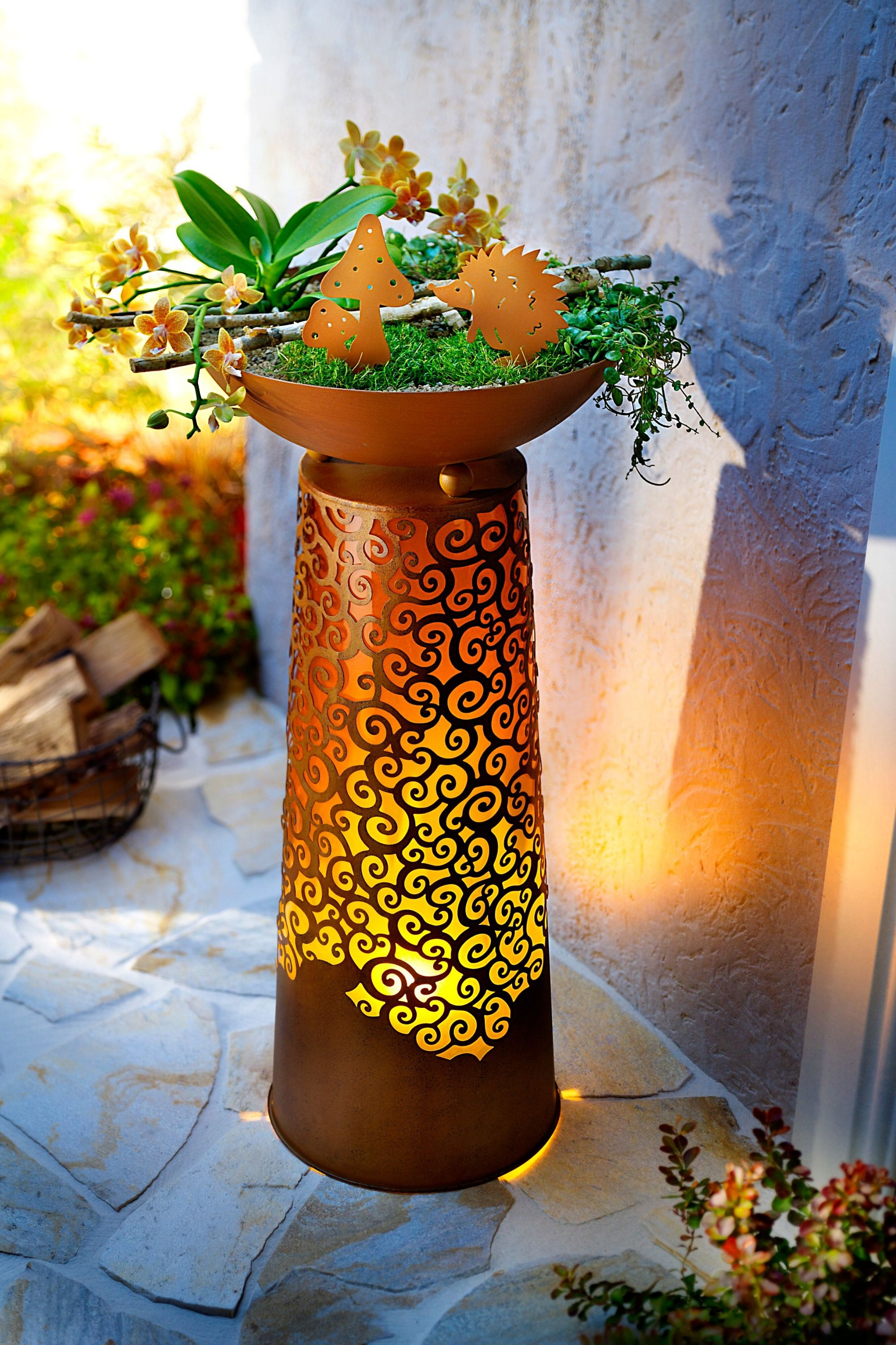 Pflanzsaule Chiara Mit Led Flammenbeleuchtung Pflanzensaule Pflanzen Pflanzsaule
