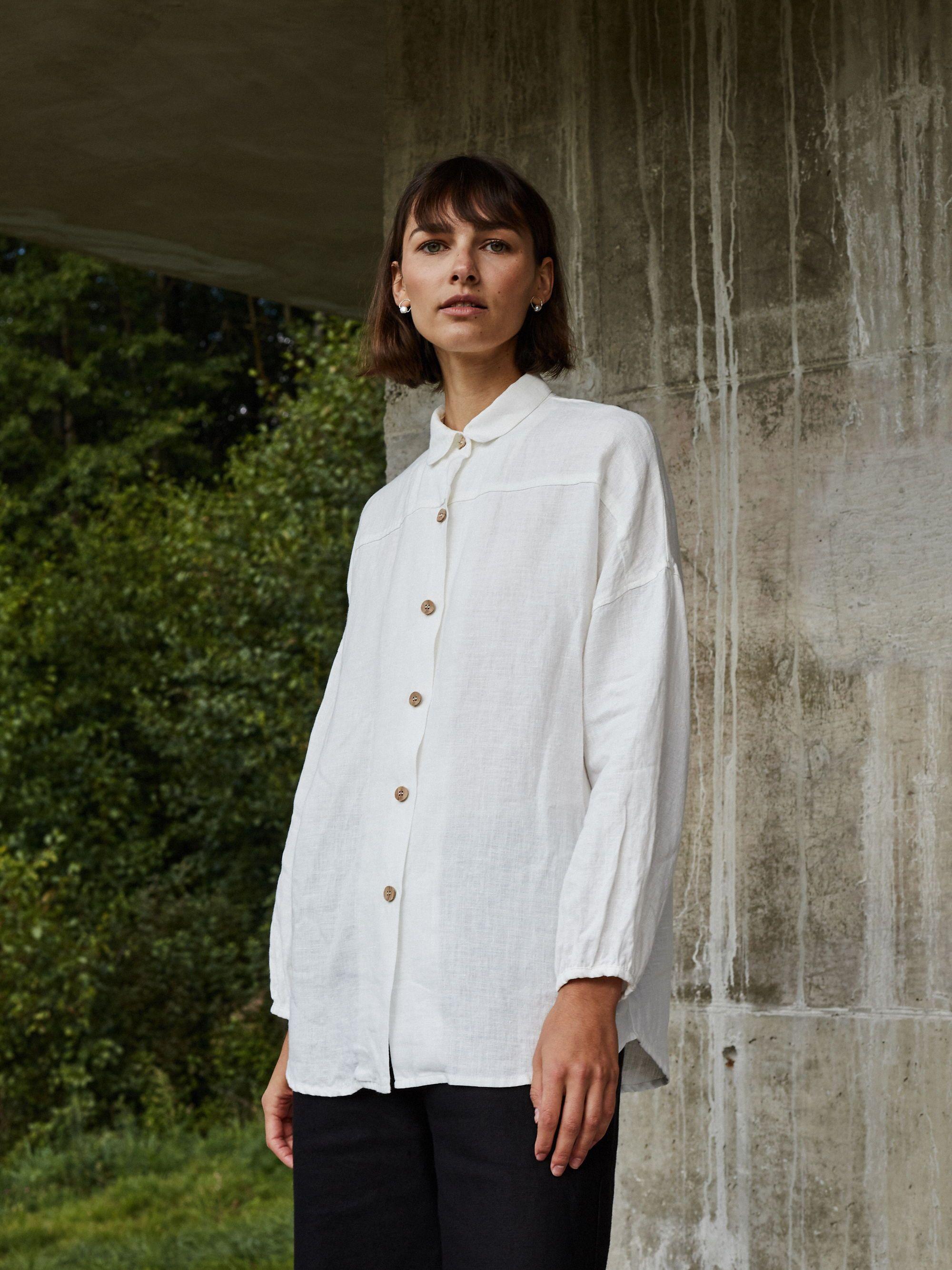 Linenfox Linen Shirts Women White Linen Shirts Women Oversized Linen Shirt [ 2667 x 2000 Pixel ]